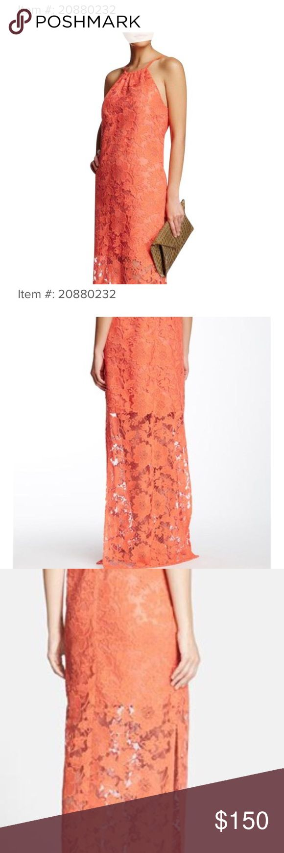 NWT - Trina Turk Coral Pennie lace maxi dress Brand new Trina Turk halter lace maxi dress with side slits. Gorgeous coral color like pics 1-3! Taking offers - absolutely stunning Trina Turk Dresses Maxi