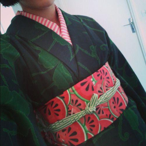#handmade watermelon hanhaba obi and striped eri, kai no kuchi style obijime #kimono #kimonofashion #kimonohime #japanesefashion