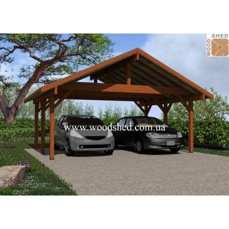 Деревянный навес «Яресь 3-1» - функциональное и практичное сооружение, рассчитанное одновременно на два автомобиля. Этот навес защитит ваши машины от выгорания и осадков, и станет стилистической изюминкой ландшафтного дизайна вашего участка.  Особенности конструкции и достоинства  Деревянный навес «Яресь 3-1» состоит из шатровой крыши и шести деревянных опор.