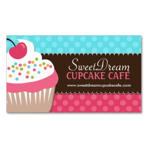 Cute and Whimsical Cupcake Bakery Business Cards. I love this design! It is available for customization or ready to buy as is. All you need is to add your business info to this template then place the order. It will ship within 24 hours. Just click the image to make your own!