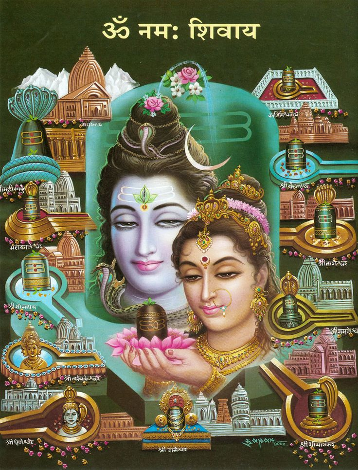 Shiva and Parvati with The Twelve Jyotirlingas (Reprint on Paper - Unframed))