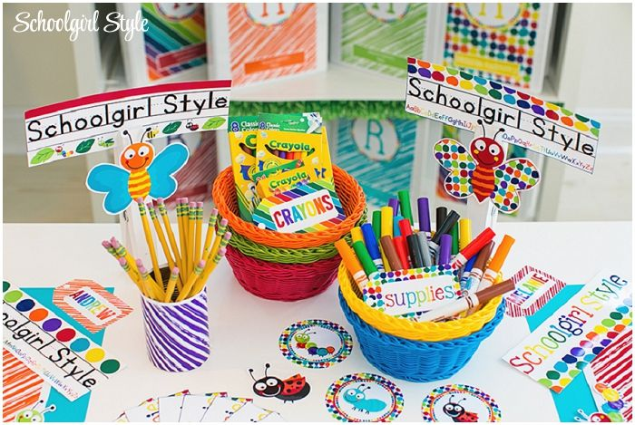 bug insects bee grasshopper ant ladybug butterfly caterpillar dragonfly polka dots classroom theme decor decorations school ~classroom decor by Schoolgirl Style www.schoolgirlstyle.com
