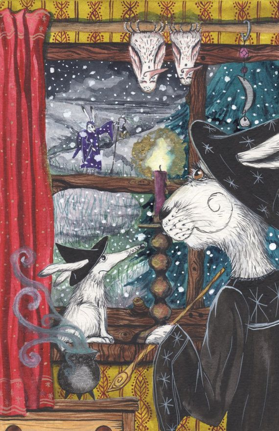 Ursula and Ledel - A3 Print by Jacqui Lovesey from 'The Puzzle of the Tillian Wand' - fantasy witch art.