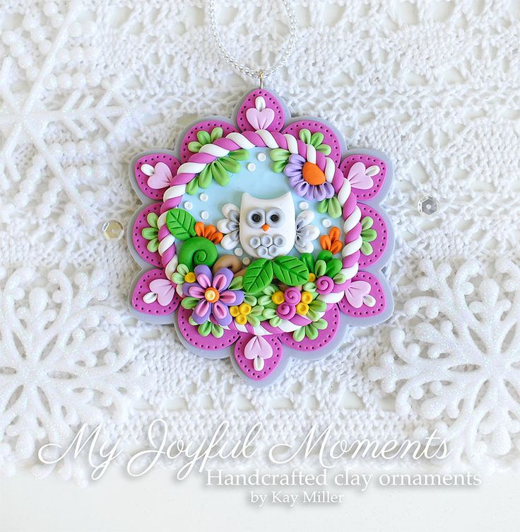 Handcrafted Polymer Clay Owl Scene Ornament