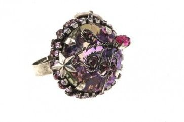Antique plated ring with Swarovski crystals and strasses, by Art Wear Dimitriadis -Handmade-