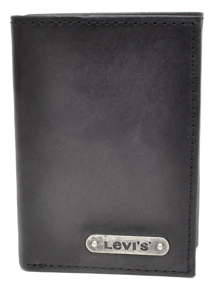Levi's Black Leather Trifold Wallet w/Metal Levi's Plate