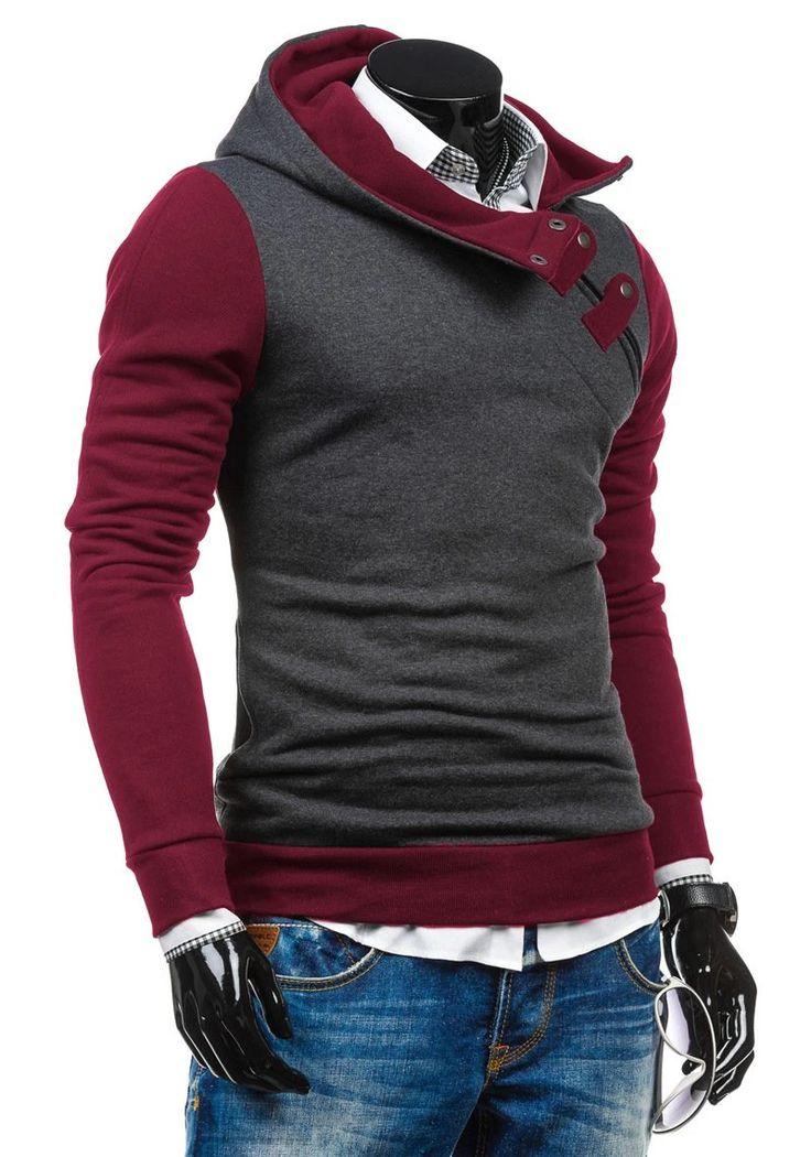 Men Hoodies Top Brand Fashion Patchwork Slim Fit Hoodies