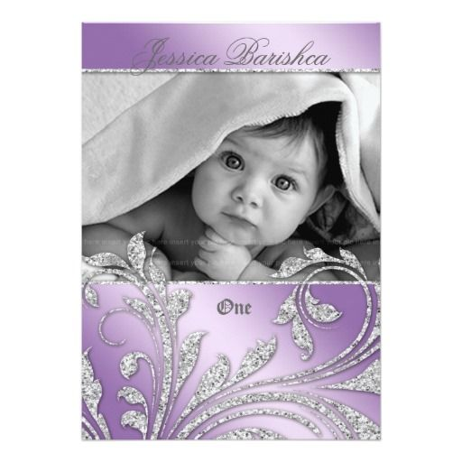 Birthday Party Invite Baby Glitter Leaves Purple