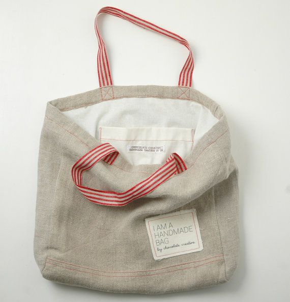 Natural linen tote bag with red straps by chocolatecreative, £35.50