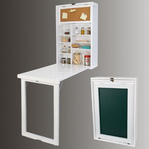 Armoire murale avec table pliable intégrée, Memo Board et un panneau sur le plateau arrière (V-FWT08-W BLANC):  Matériel: Plateau et la cadre d'armoire: Bois multicouches; Pied de la table et armoire : bois de pin ; Etagère d'armoire : MDF ; Dimension du meuble déplié : longueur x largeur x Hauteur : 94,5x53x152,5cm;  Poids du meuble : 16kg; Charge maximale : 20 kg. Armoire murale avec table pliable, meuble mural et pliable, So-FWT08-W installe sur mur, avec 4 bouchons épandeur.