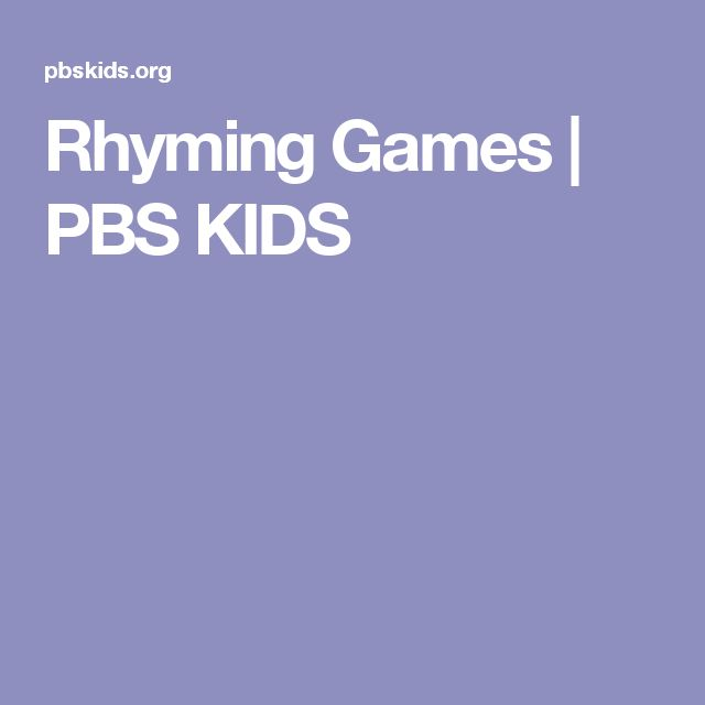 Rhyming Games | PBS KIDS