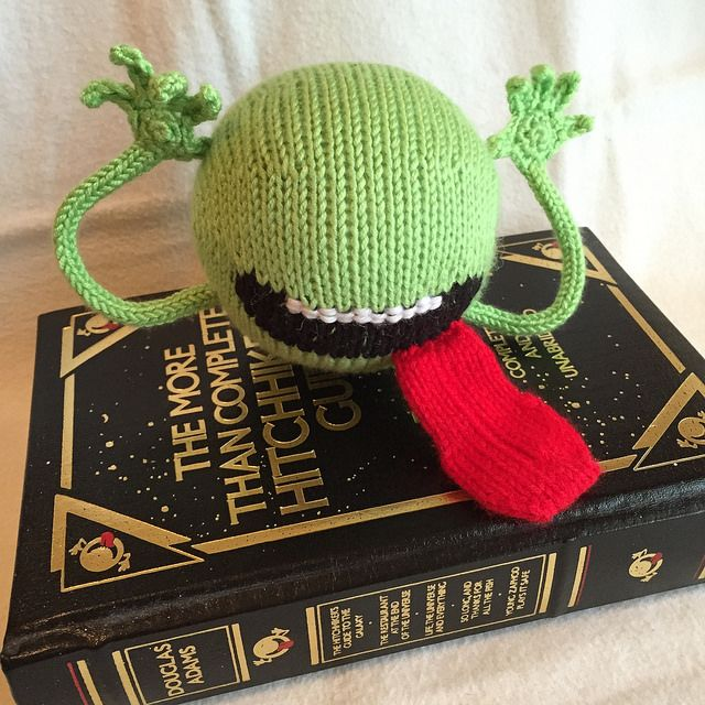 The Hitchhikers thing, knitted by Carissa of CarissaKnits, as featured on Knithacker