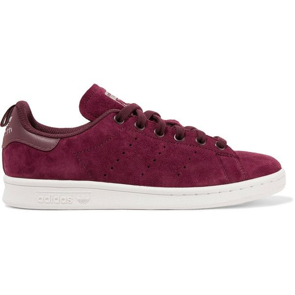 adidas Originals Stan Smith leather-trimmed suede sneakers ($85) ❤ liked on Polyvore featuring shoes, sneakers, burgundy, suede low top sneakers, adidas originals shoes, embroidered sneakers, low top and lace up shoes