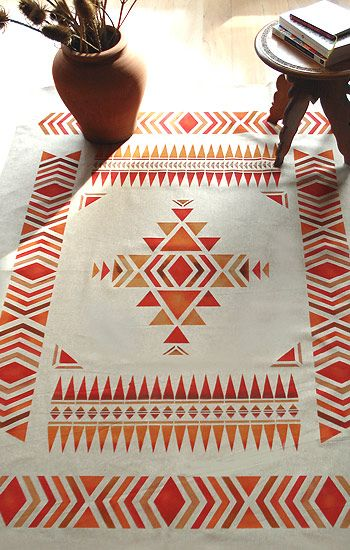 Navajo pattern...pretty good idea of what a tile replica would look like on the floor..keep in mind the center would be covered