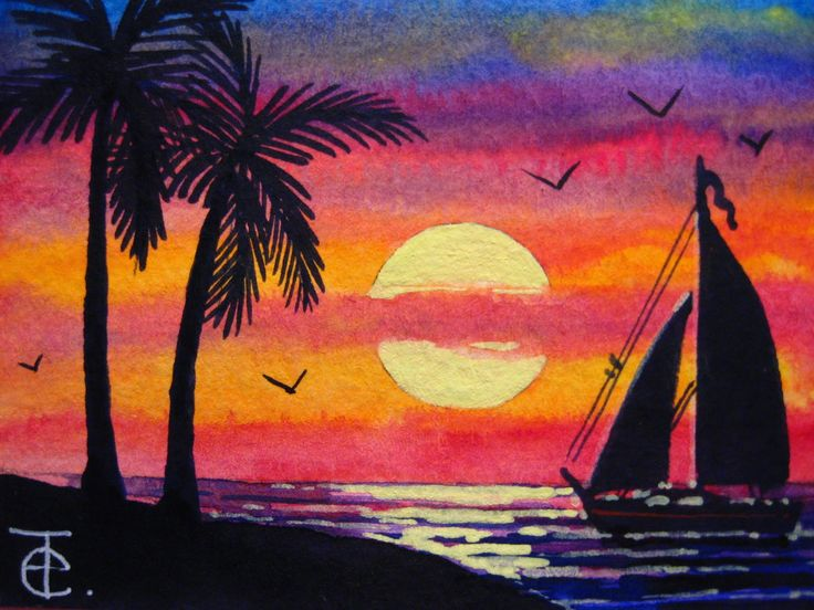 Aceo Watercolor Painting How To Paint Ocean Sunset With