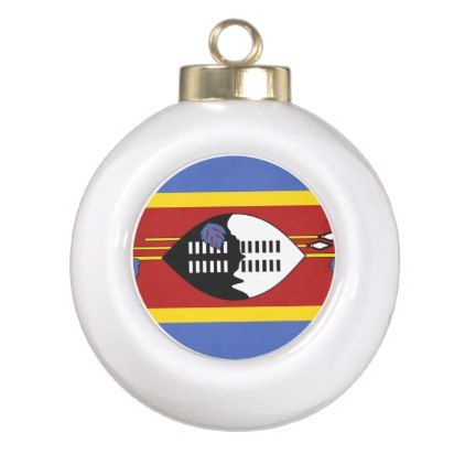 #Swaziland Flag Ceramic Ball Christmas Ornament - #country gifts style diy gift ideas