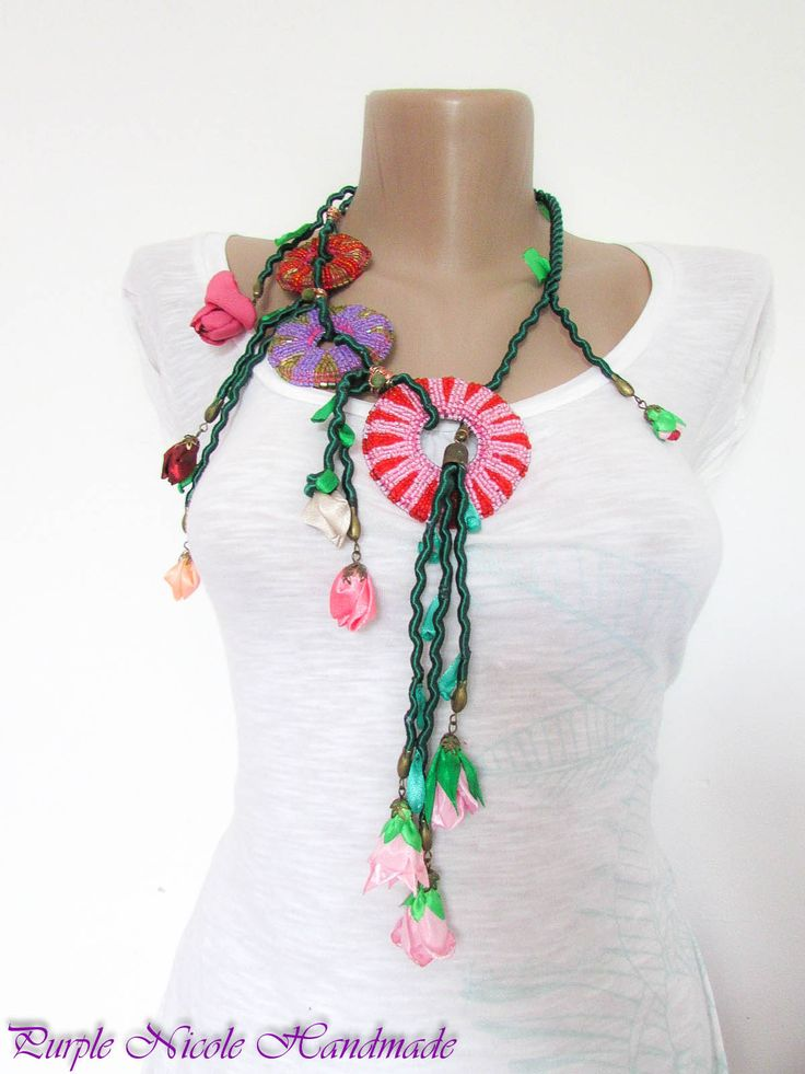 Spring Vines - Handmade Statement Necklace made by Purple Nicole (Nicole Cea Mov). Materials: small glass beads (2mm), satin ribbon, bronze accesories, felt, green cord, satin handmade flower buds and leafs.