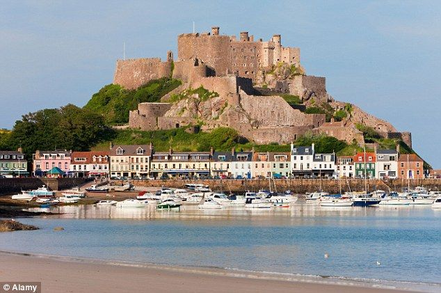 Mont Orgueil Castle over looking Grouville Bay. Jersey, British Isles