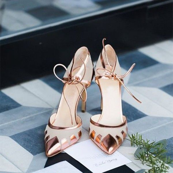 Beige and Rose Gold Pointy Toe Stiletto Heels Pumps for Formal event, Anniversar…