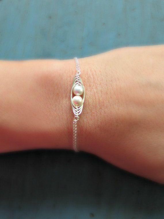 Two Peas in a Pod Bracelet 2 Pearl Mothers Jewelry Swarovski Pearl Sterling silver Birthstone Jewelry Twins Jewelry