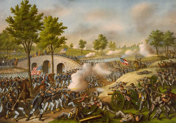 The Battle of Antietam, also known as the Battle of Sharpsburg, fought on September 17, 1862, near Sharpsburg, Maryland, and Antietam Creek as part of the Maryland Campaign, was the first major battle in the American Civil War to take place on Union soil. It is the bloodiest single-day battle in American history, with a combined tally of dead, wounded, and missing at 22,717.