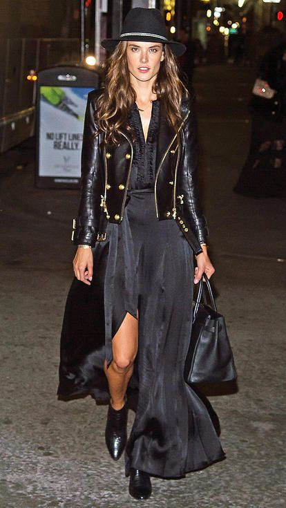 Alessandra Ambrosio in a black maxi dress, leather jacket, booties and wide-brimmed hat - click ahead for more fall style