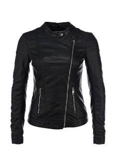 Куртка кожаная Only, цвет: черный. Артикул: ON380EWDMF98. Женская одежда / Верхняя одежда / Кожаные куртки