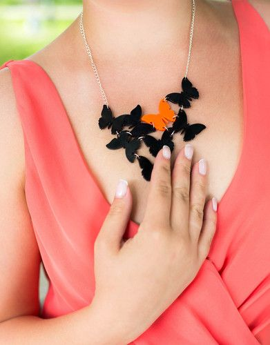 Trends Alert: Butterfly Necklace in Black and Orange. Discover quirky jewellery from Finnish designers @KiviMeri