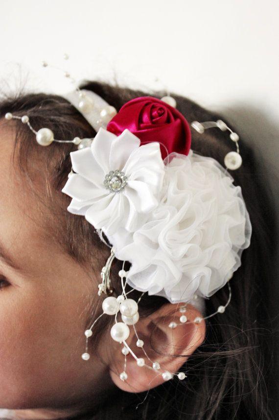 0 to 12m Baby white flower headband with a dark raspberry rosette and strings of pearls. Handmade with love by Babamoon :)   #handmade #babyheadband #baby #headband #pearls #roses #rosette #flowers #flower #whiteflowers #whitewedding #white #babies #style #stylishkids #babyheadwrap #fascinator #wedding #weddingflowers #weddinghair #flowergirl #christening #birthday #babyshower #boutique #babyshowergift #chic #etsy #babyfashion #childrensfashion #kidsfashion #babygifts #gifts #etsygifts…