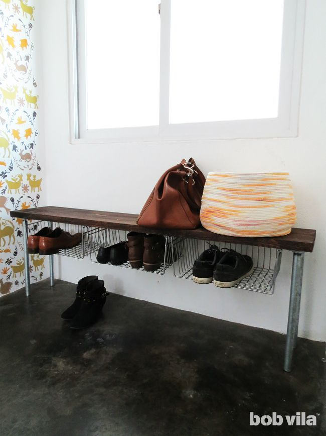 diy shoe storage completed project