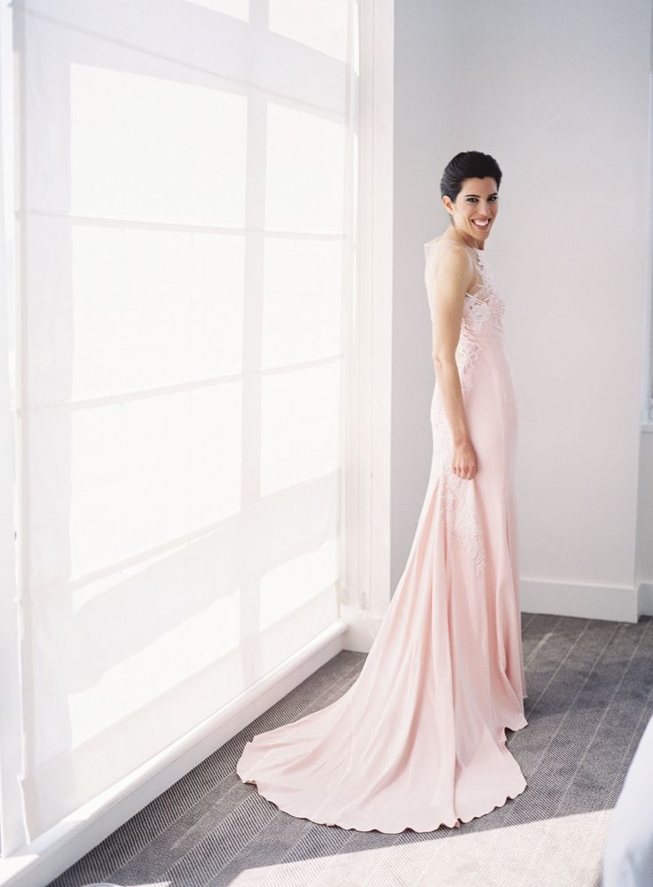 sleek blush bridal sheath gown   Photography: Judy Pak