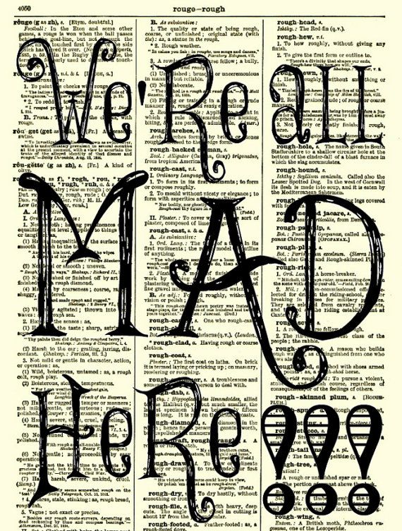 Were All Mad Here Alice in Wonderland Art Print 1897 Dictionary Page, Wall Decor, Book Art, Dictionary Art Print, Mixed Media Art