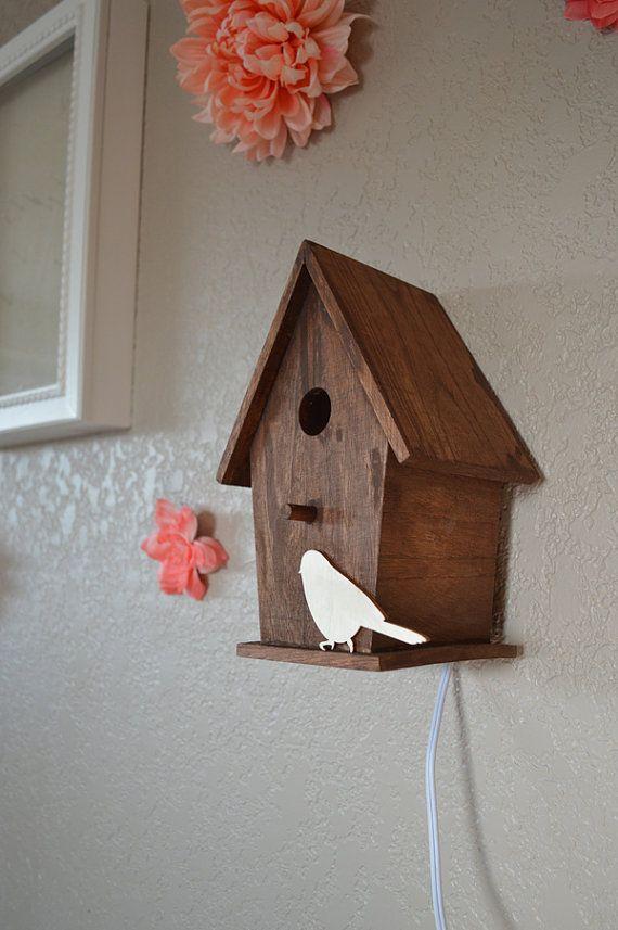 Rustieke bossen kwekerij Birdhouse nachtlampje door TheTinyPineCabin