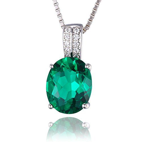 JewelryPalace Oval Created Nano Russian Emerald Pendant Necklace Solid 925 Sterling Silver *** For more information, visit image link.