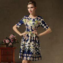Venda vestido vestidos vintage retro 2014 balanço novidades vestidos roupas femininas vestidos balanço impressão Floral halt sleeve(China (Mainland))