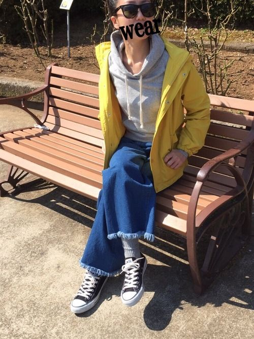 先週の公園コーデです😊  GUのアウター色が可愛くて♡  Kids150センチだから袖短いけど、丈