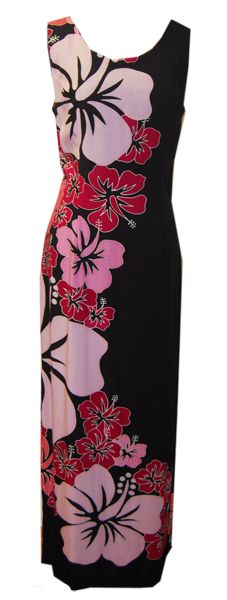 Poolside Chilling Pink Hibiscus Hawaiian Long Tank Dress