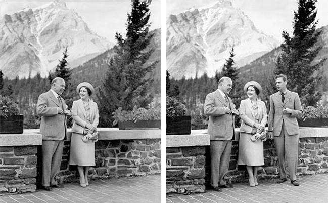 Queen Elizabeth and Canadian Prime Minister William Lyon Mackenzie King in Banff, Alberta. King George VI was removed from the original photograph. This photo was used on an election poster for the Prime Minister - c.1939
