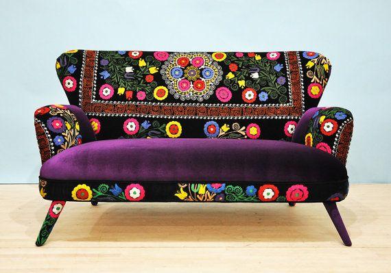 Suzani 2 seater sofa  purple love by namedesignstudio on Etsy