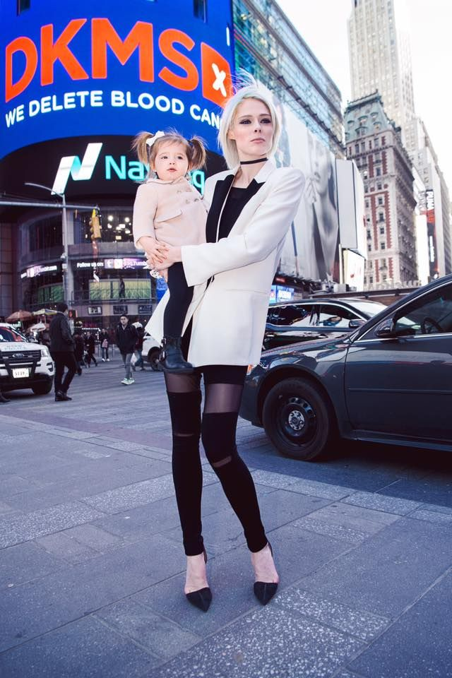 Coco Rocha wearing Judith and Charles & Marie Saint Pierre from Rockland at Nasdaq NYFW.