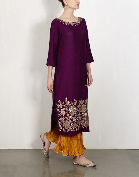 purple tusar silk kurta w gota work and mustard crushed sharara pants by LAJJOO C: