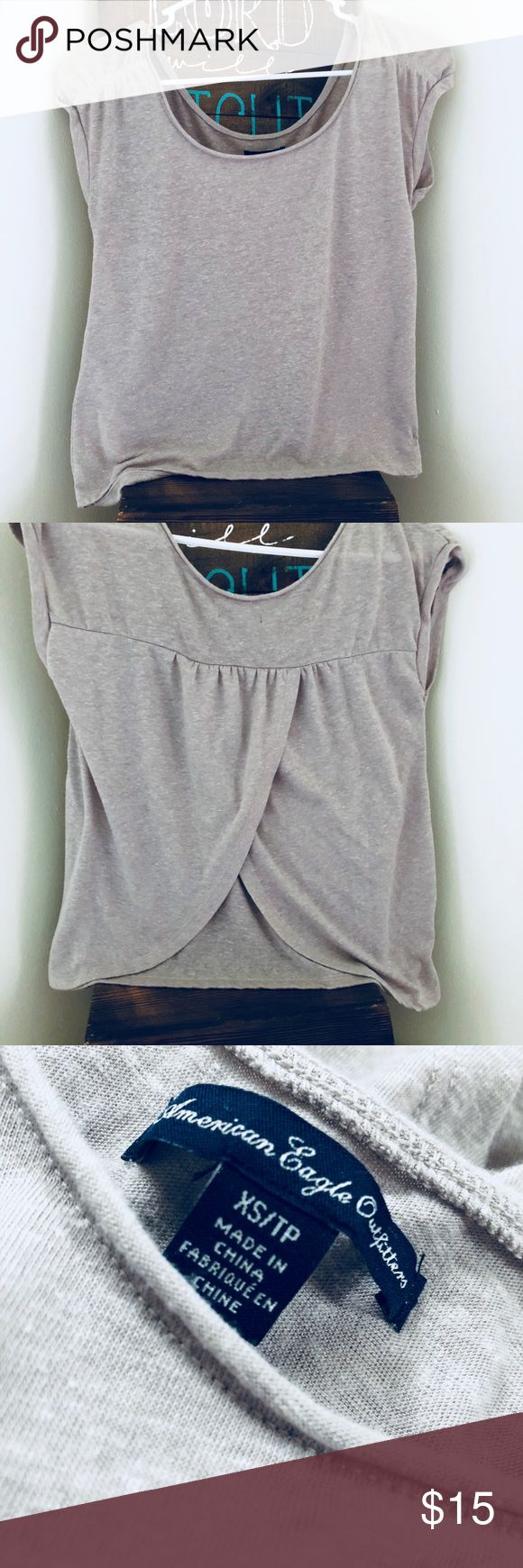 American Eagle Open Back Tee NWOT - never worn, brownish/gray, crop top w/ open back shirt! American Eagle Outfitters Tops Crop Tops