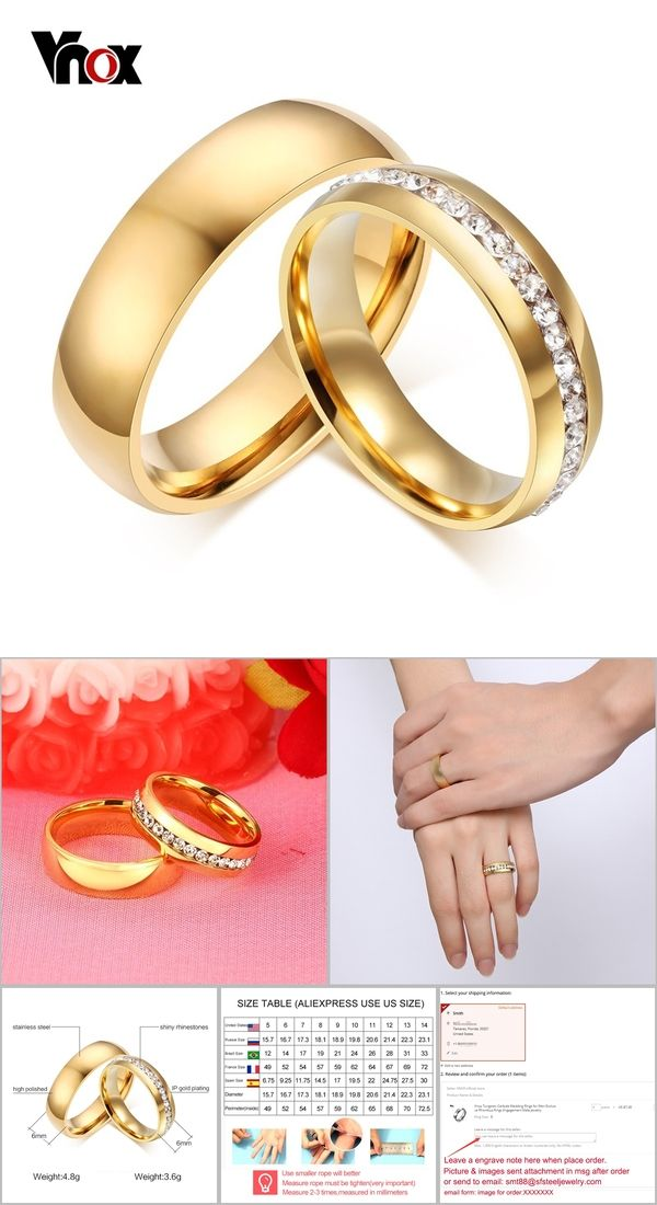 Vnox Personalized Gold Color Wedding Bands Ring For Women Men