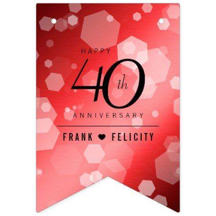 Elegant 40th Ruby Wedding Anniversary Celebration Bunting Flags - elegant gifts gift ideas custom presents