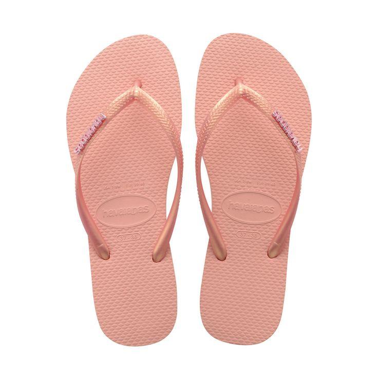 37/38 - Light Pink - Havaianas Slim Logo Metallic Thong Flip Flops for Women
