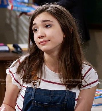 Riley's striped tee and denim overalls with leather straps on Girl Meets World.  Outfit Details: https://wornontv.net/59933/ #GirlMeetsWorld