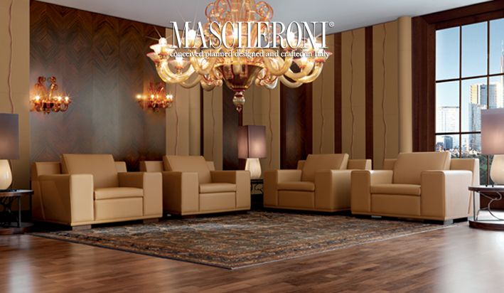 Complete collection of two and three seater sofas (lengths  200-255 cm), armchair and foot-rest. Structure: massive wood Padding: non-deformable foam rubber padding with dacron covering. Entire seat and back cushion.