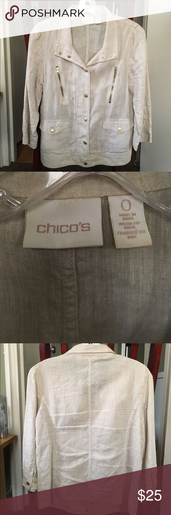 SAFARI KHAKI W GOLD HARDWARE CHICOS JACKET/BLOUSE Easy breezy linen in khaki great looking Chicos jacket. Can be worn open as a jacket or buttoned up as a blouse. Gold buttons and hardware make this a casual, comfortable yet classy look. Will go with anything as it is so neutral! It is a 0 which is a small however it runs big more like a medium! Chico's Jackets & Coats