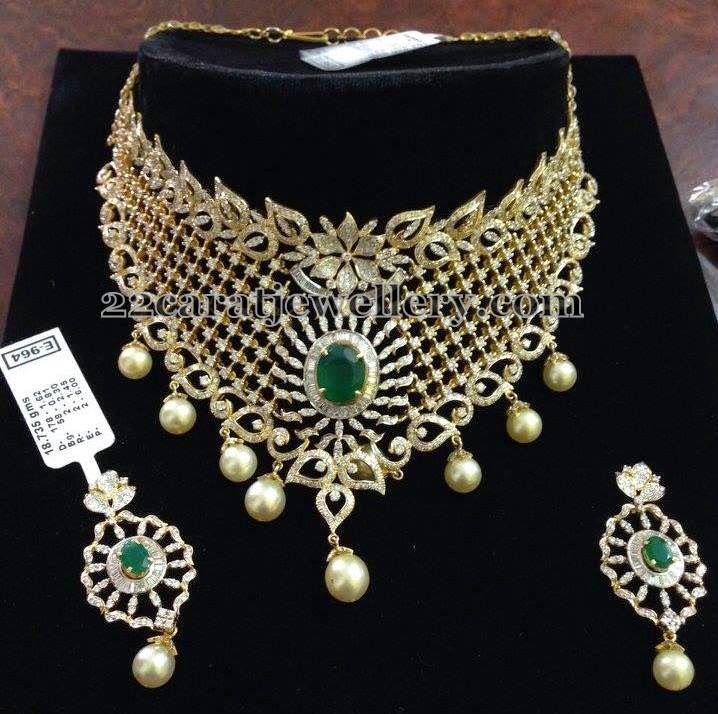 Jewellery Designs: Huge Pearls Hanging Diamond Choker