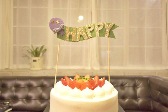 Felt Cake toppercake bunting  HAPPY by NABISTYLE on Etsy, $15.00